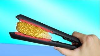Experimente - Was passiert mit Mais im Glätteisen?