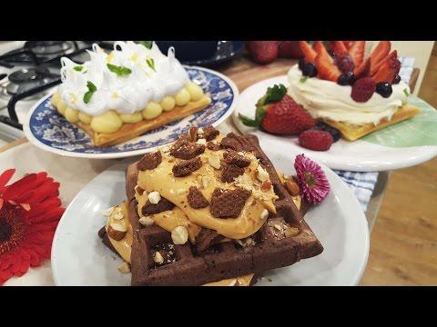 Choco waffles, fruti waffles y lemon waffles