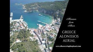 AERIAL FROM LOVELY ALONISSOS ISLAND IN GREECE