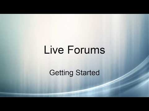 Live Forums: Getting Started