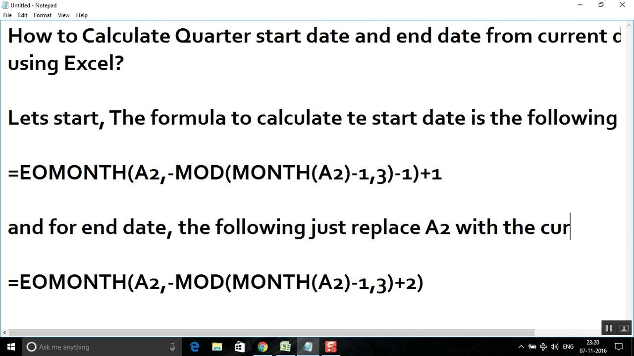 Calculate Quarter start date and end date from current date using Excel
