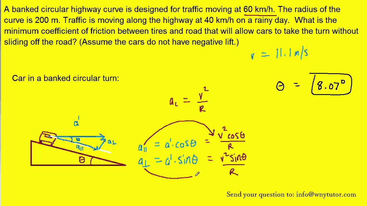 A banked circular highway curve is designed for traffic moving at 60 km/h   The radius of the curve i