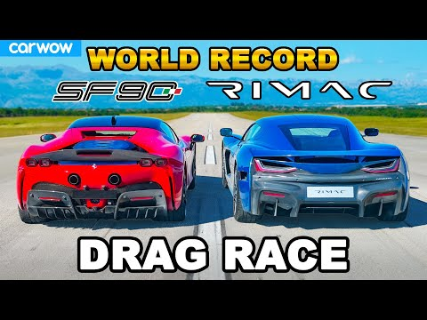 Ferrari SF90 v new Rimac Nevera: DRAG RACE *WORLD RECORD!!!*