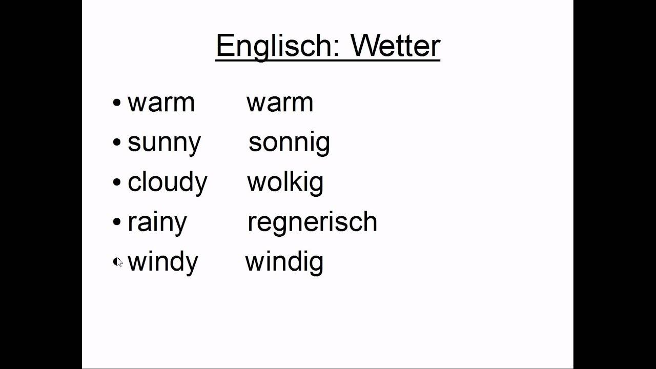 Wetter Englisch - YouTube