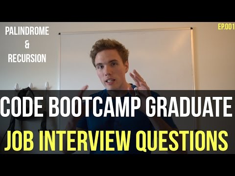 Code Bootcamp Grad Job Interview Questions - Palindrome w/ Recursion EASY (Whiteboard & Code) Ep.001