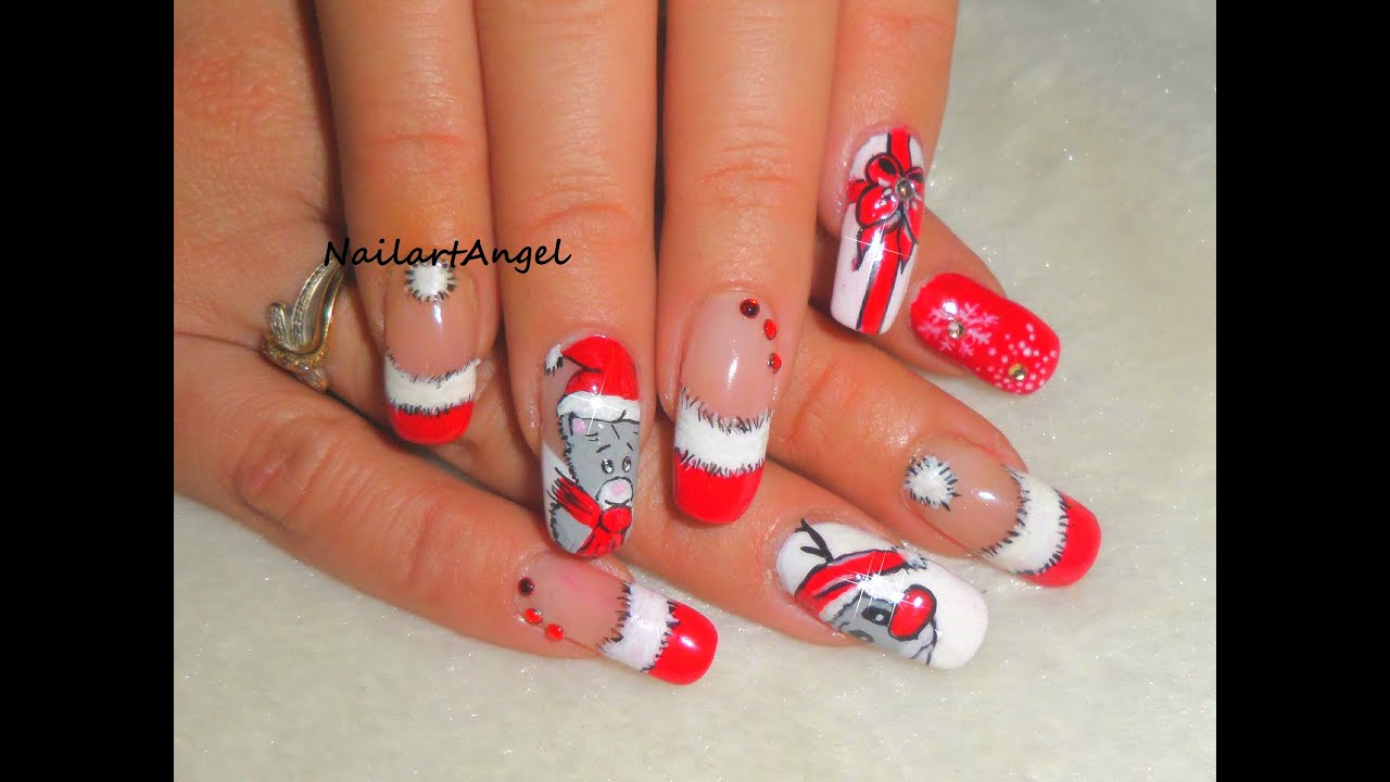 Nail art no l motif de no l tutoriel youtube - Nail art noel facile ...