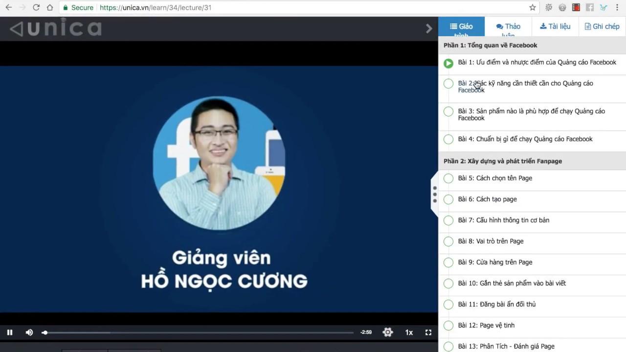 Hướng dẫn học Miễn Phí các khoá học Online trên Unica