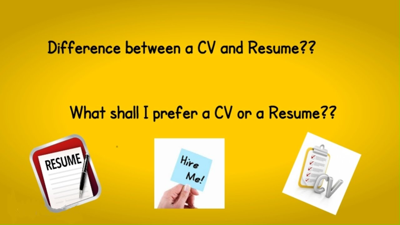 difference between cv and resume youtube