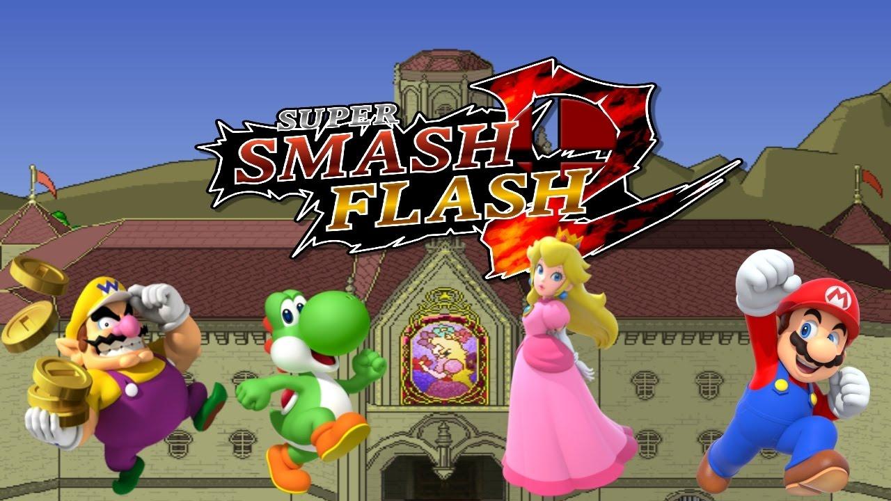 ssf2  peach's castle  mario vs peach vs yoshi vs wario