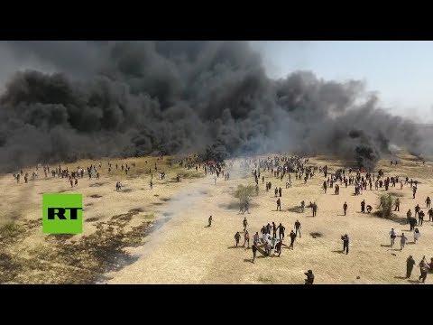 Un Dron Graba Los Sangrientos Enfrentamientos En La Frontera Entre Israel Y Gaza