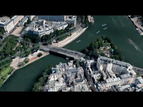 Ponts de Paris au dessus de la Seine vus du ciel