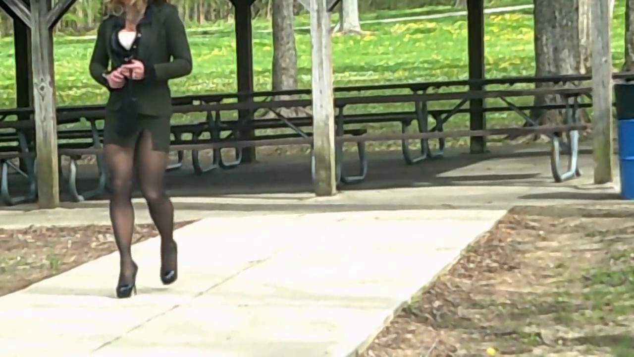 Seamed stockings in public
