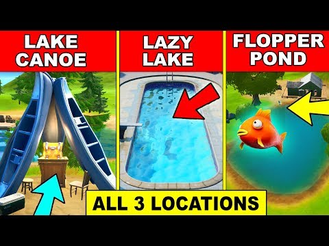 Catch A Fish At Lake Canoe, Lazy Lake, And Flopper Pond – ALL 3 LOCATIONS Fortnite Challenges