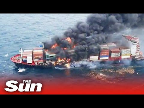 Explosion on burning container ship carrying Nitric Acid injures 2