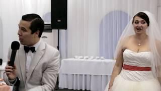 Прикольный свадебный конкурс для молодоженов, жениха и невесты. «Школа поцелуев». Видео №3 из 23.