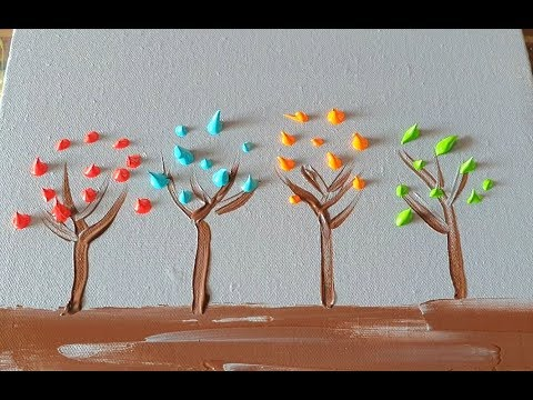Colorful Trees Simple Easy Abstract Painting Demo In Acrylics Daily Art Therapy Day 0120