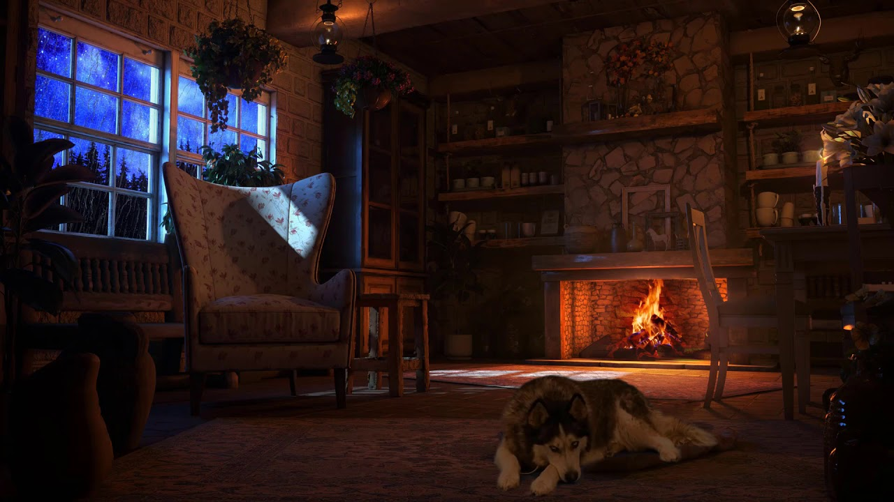 Cozy Cabin Ambience - Thunderstorm Sounds & Crackling ...