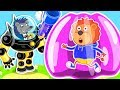 Lion Family 🤖 Iron Robot #4. Inflatable Playhouse | Cartoon for Kids