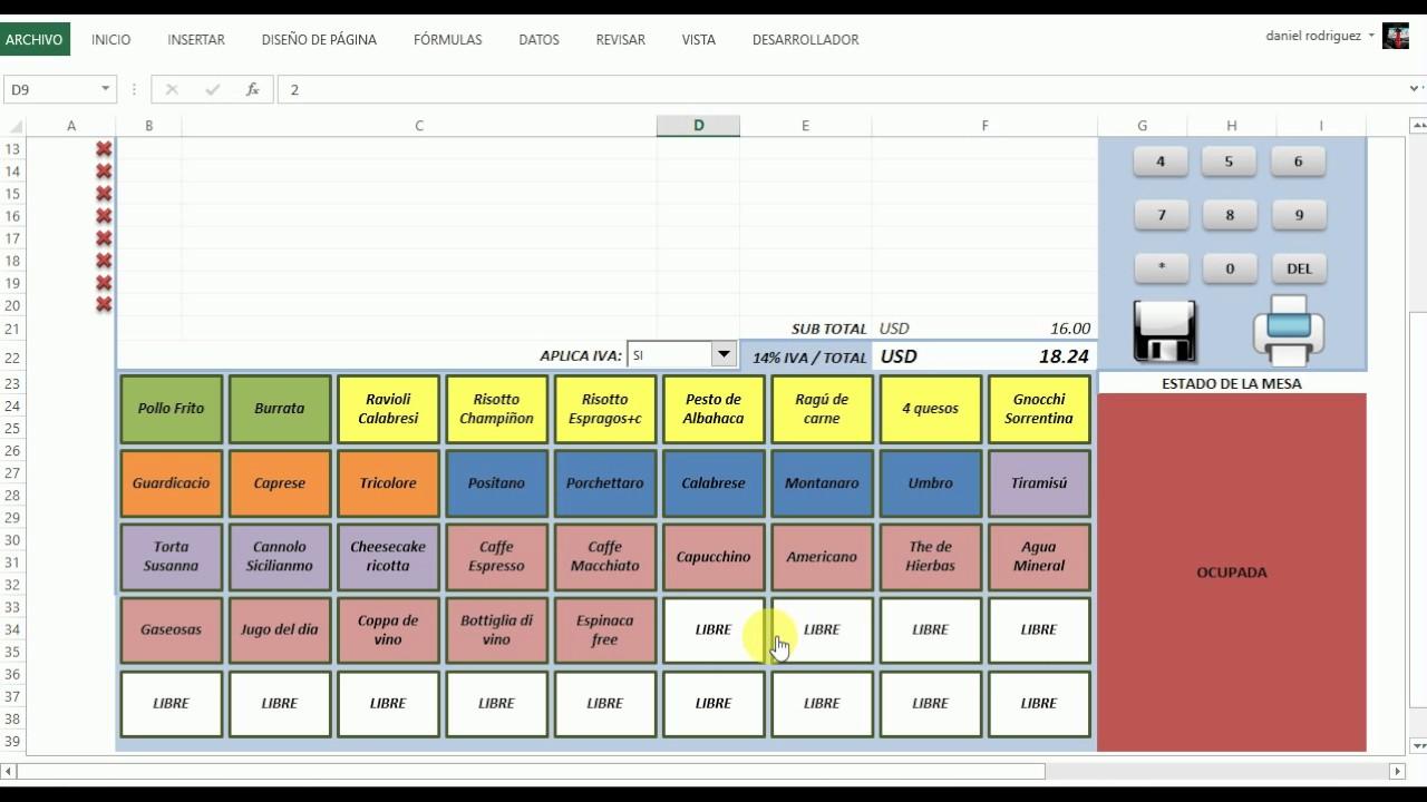 Sistema para restaurant en excel youtube for Formatos y controles para restaurantes gratis