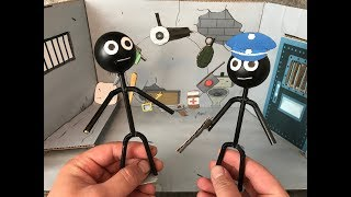 Stickman Jailbreak. Cardboard game. DIY