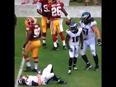 Jason Peters was standing up for his QB