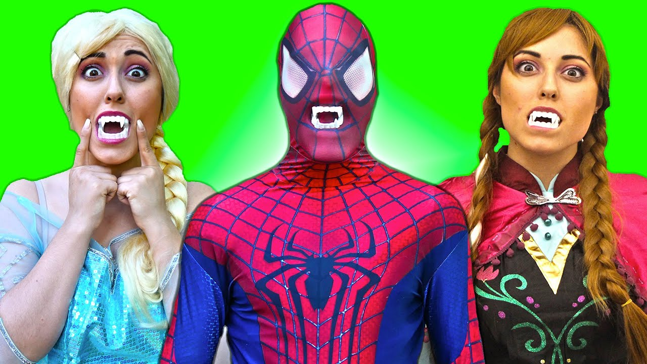 Spiderman & Frozen Elsa VS VAMPIRE FIGHT! Joker Banana Prank Fail - Funny Superheroes in real life