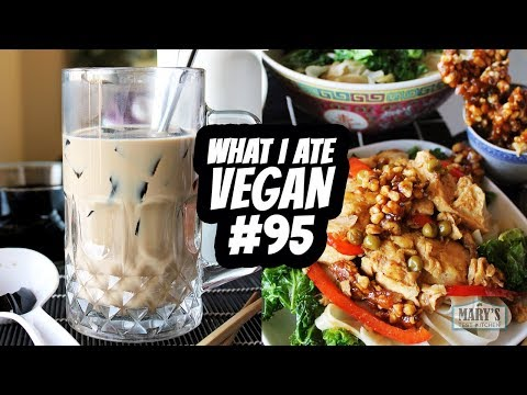 WHAT I ATE VEGAN IN A DAY 95   GRASS JELLY  WALNUT 'CHICKEN'  Mary's Test Kitchen