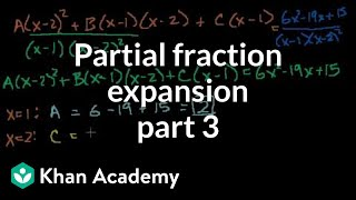 Partial fraction expansion 3 | Partial fraction expansion | Precalculus | Khan Academy