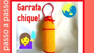 CROCHÊ- Capa para garrafa de água fácil e rápida # Fácil Crochê Fácil