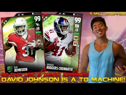 NEW 99 OVR DAVID JOHNSON IS A TOUCHDOWN MACHINE! 99 OVR DRC! 5 MILL DROPPED! MADDEN 17 ULTIMATE TEAM