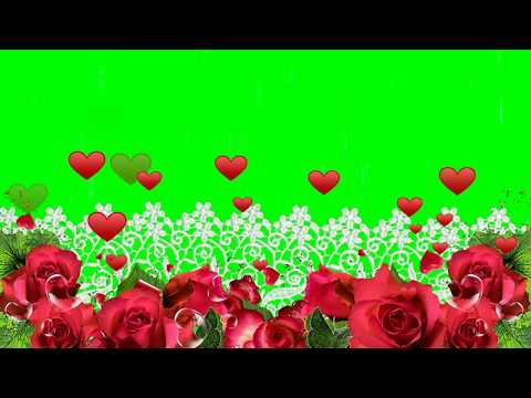Green Screen Flowers Frame With Hearts Flying Animation Overlay