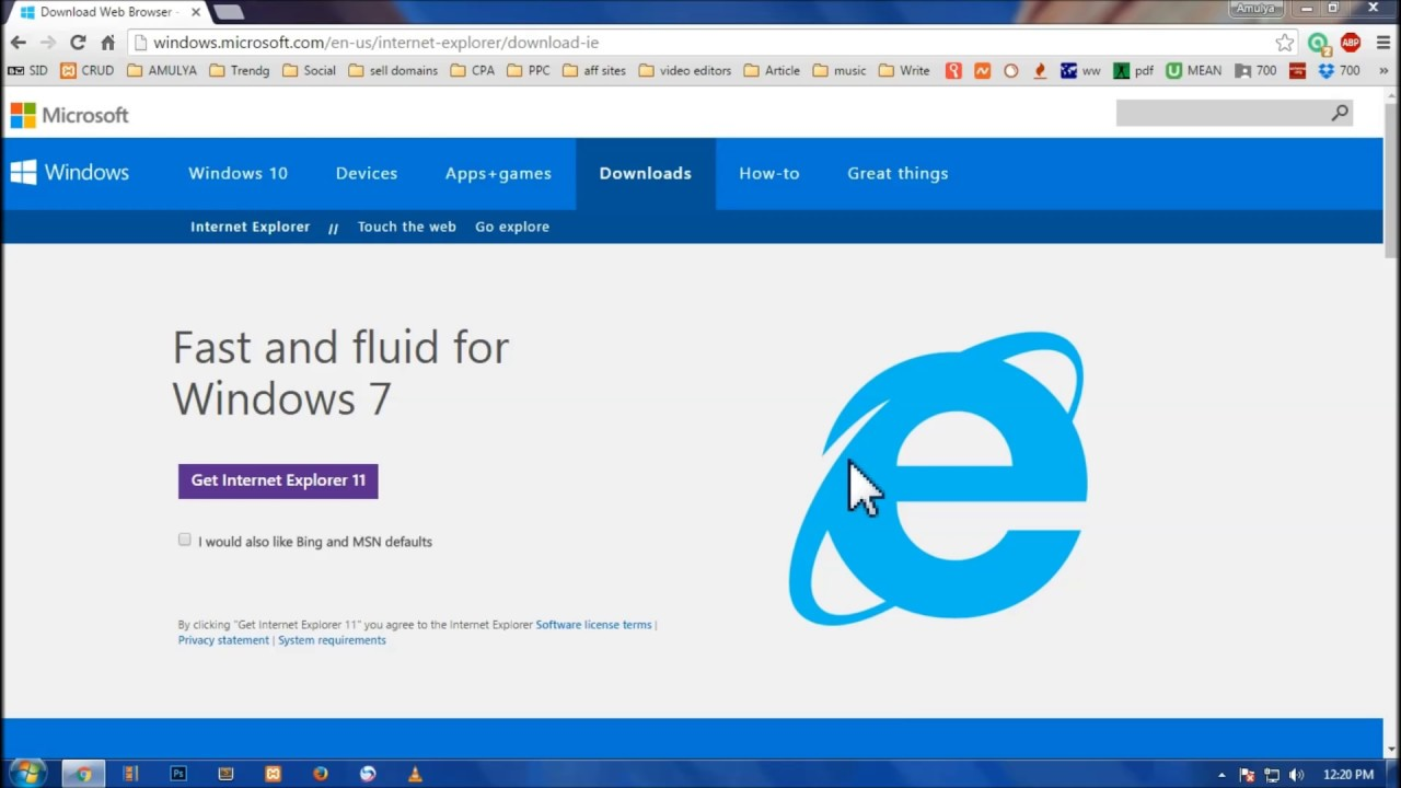 You need windows 7 sp1 to install ie11