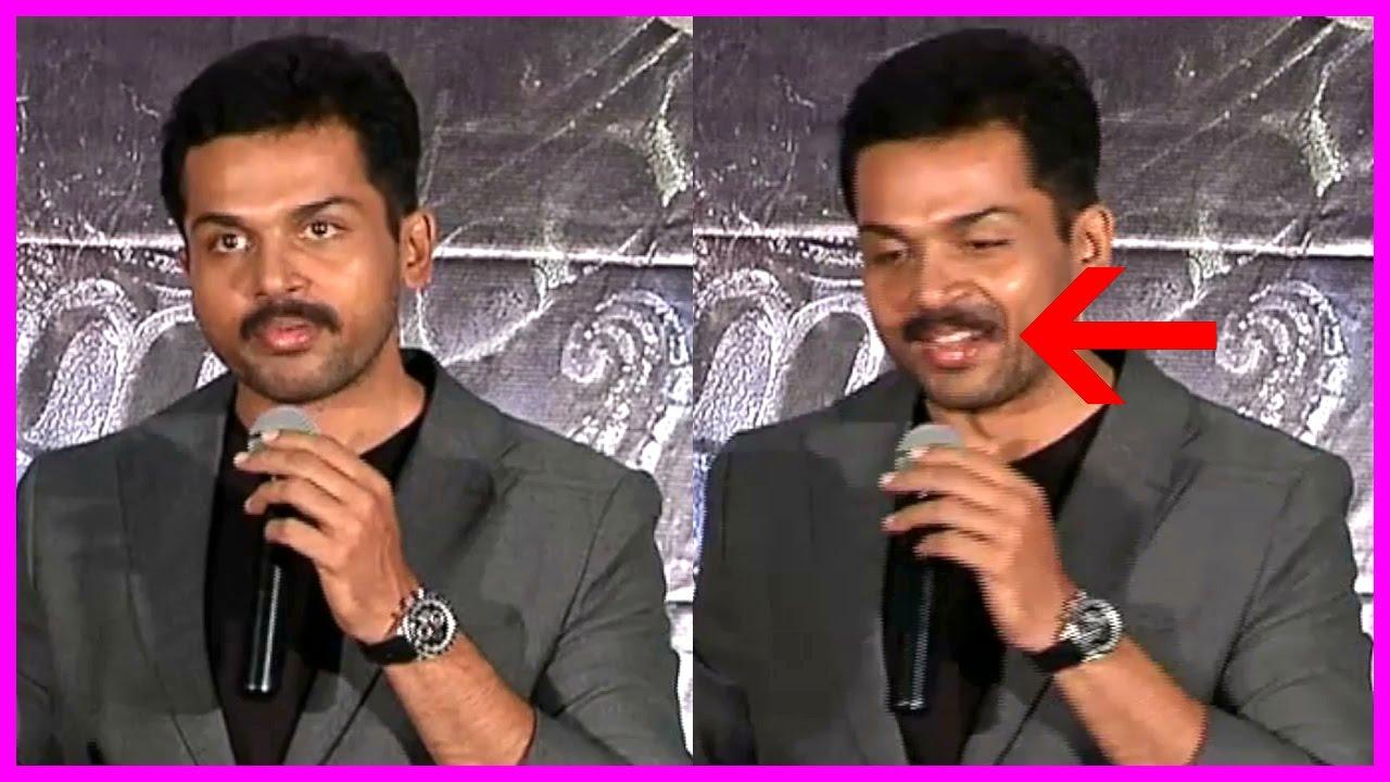 Karthis Fake Mustache Slips Kashmora Press Meet Sri Divya Pvp Nayanthara