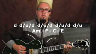 Rockabilly guitar cool rhythm gallop lesson on Gretsch electric with slapback delay reverb