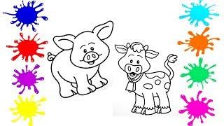 Учим и раскрашиваем домашних животных Развивающее видео  для  малышей #1