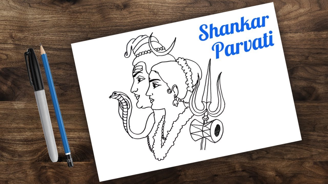 How to draw shiv and parvati maha shivratri drawing for kids