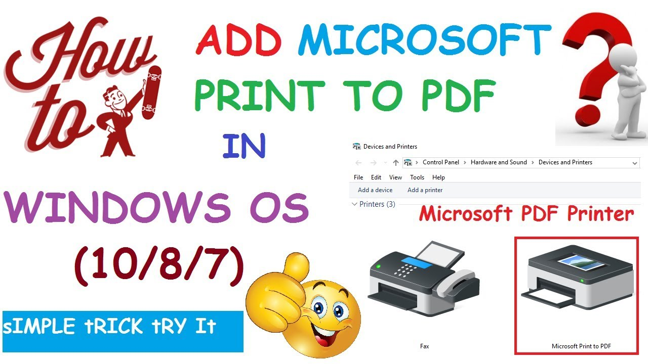 How to add microsoft pdf printer in windows 10 87 os youtube how to add microsoft pdf printer in windows 10 87 os ccuart Choice Image