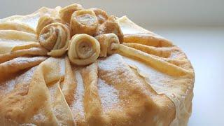 Блинный торт со сливочно-творожным кремом💛 easy cake recipe
