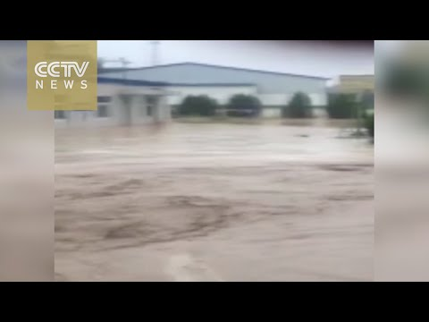 Watch: Office building swamped by mudslide in Shanxi Province