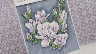 Magnolia Flowers - Copic Colouring & Card Tutorial