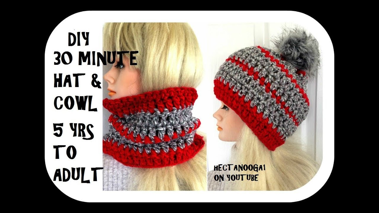 DIY CROCHET 30 MINUTE COWL HAT--. CONVERTIBLE COWL TO HAT- 5 yrs to adult  free pattern  2136YT c7b160da97b