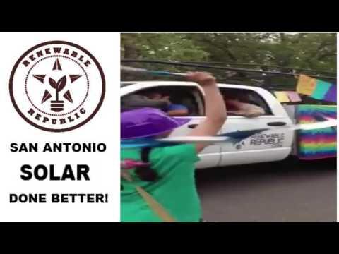 RENEWABLE REPUBLIC SOLAR STAGE IN KING WILLIAM PARADE San Antonio - Solar Panel Possibilities Demo