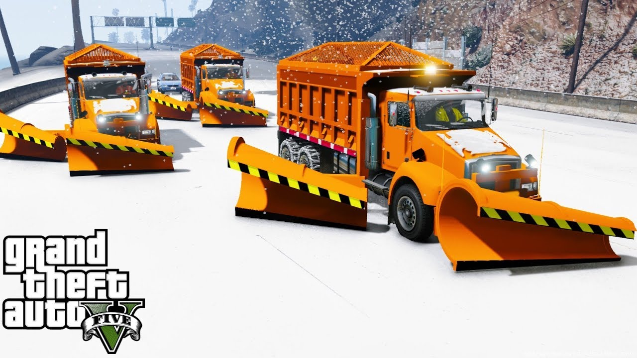 gta 5 mod convoy of plow trucks plowing snow during a blizzard [ 1280 x 720 Pixel ]