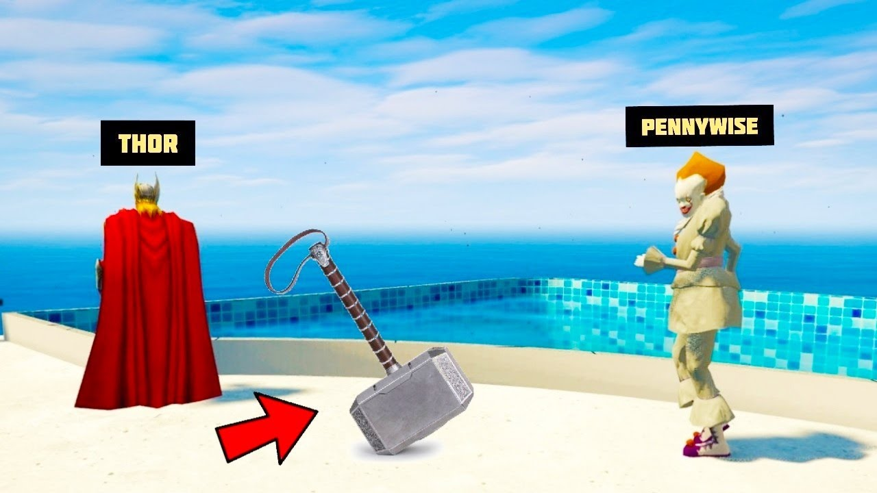 PENNYWISE STOLE THOR'S MJOLNIR HAMMER From THOR in GTA 5 !