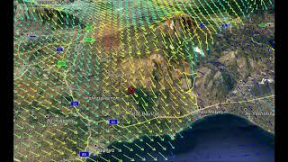 Πυρκαγιά Ανατολικής Αττικής: Λεπτομερής απεικόνιση του ανέμου