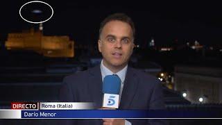 Aparece un OVNI a gran velocidad en pleno directo de las noticias desde Roma