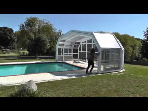Retractable pool enclosures woman opens enclosure manually youtube Retractable swimming pool enclosures