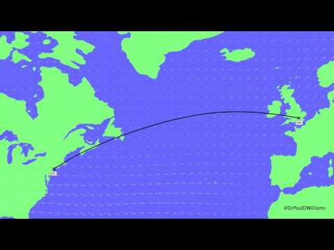 How flight routes from NY JFK to London LHR vary daily with the jet stream wind pattern
