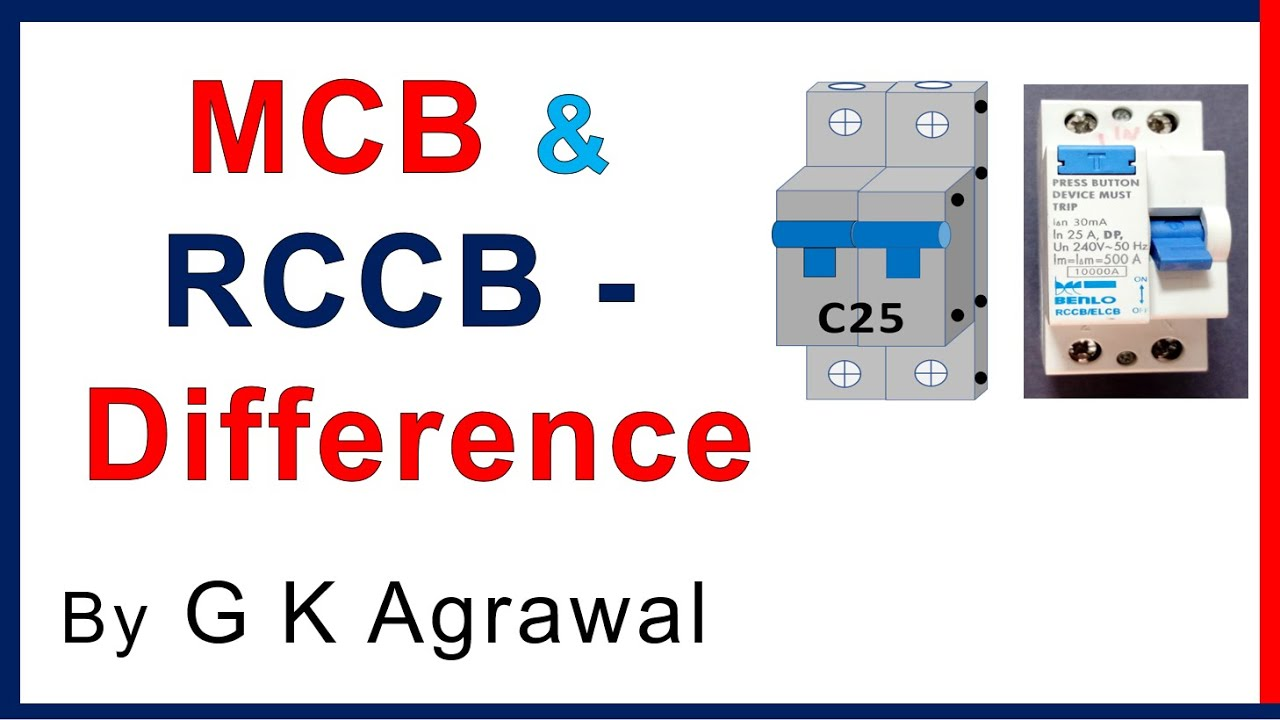 MCB & RCCB circuit breaker - difference & connections - YouTube