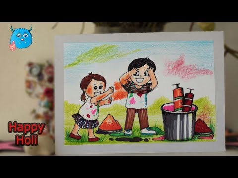 One Art Center On How To Draw Holi Festival Poster Card Craft Idea